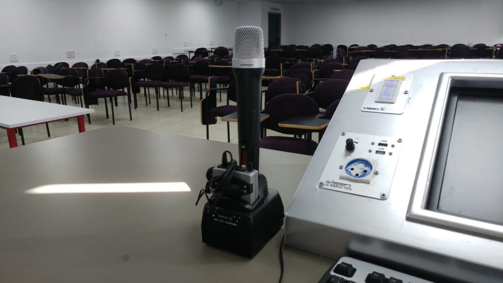 Microphone set in lecture theatre