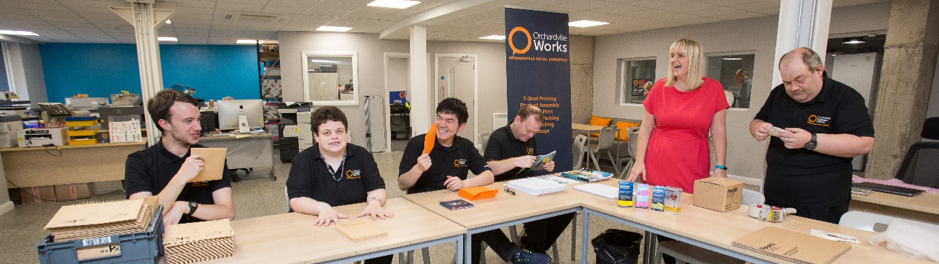 Students and support working in the new Orchardville Karten Centre