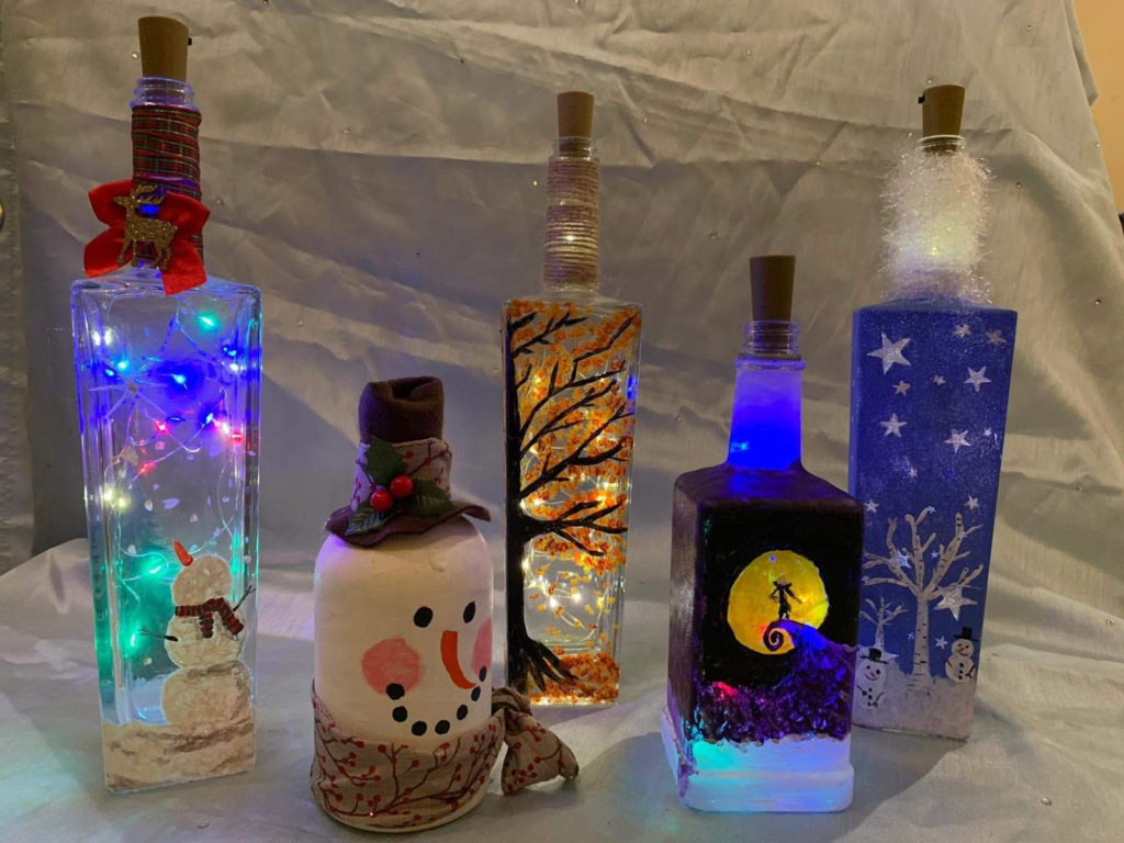 Christmas Decorated glass bottles