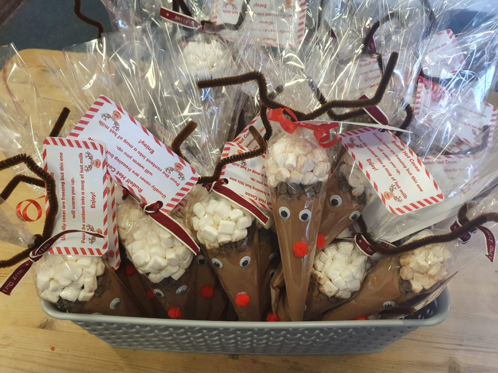 reindeer sweets in bags ready for sale at local Christmas market