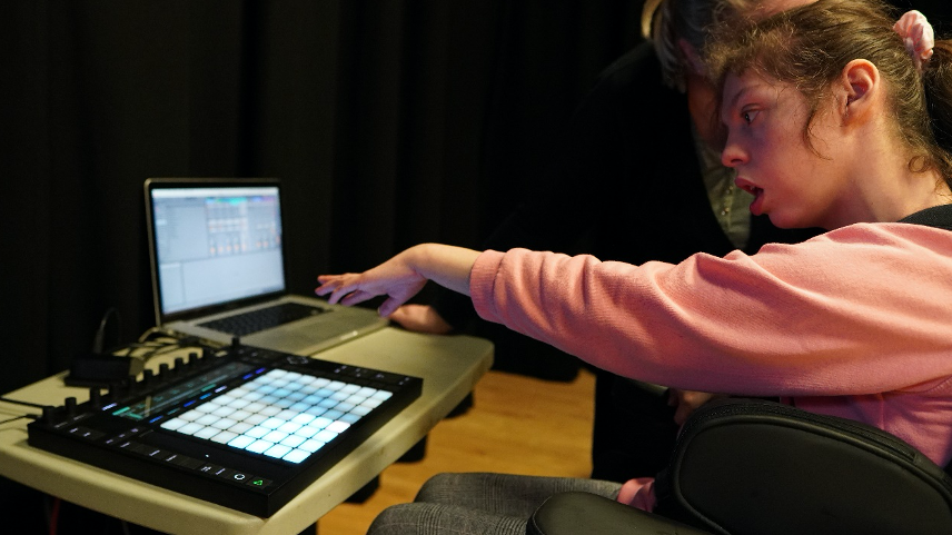 Beaumont student with a physical impairment making music