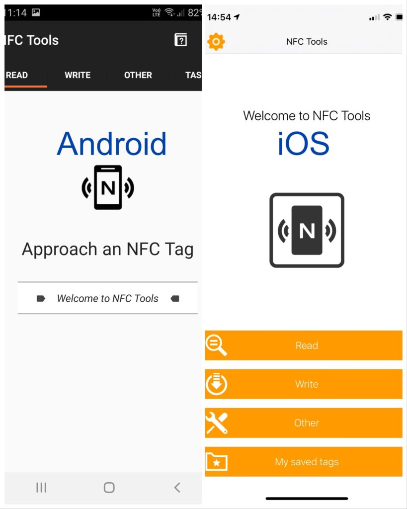 NFC Tools app in Android and iOS