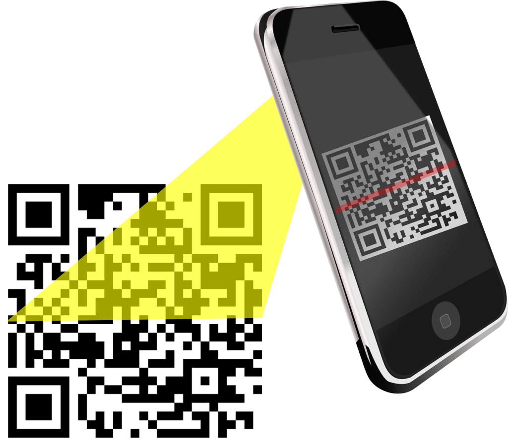 Mobile phone scanning a QR code