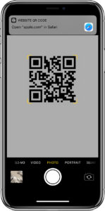 Mobile phone showing QR code