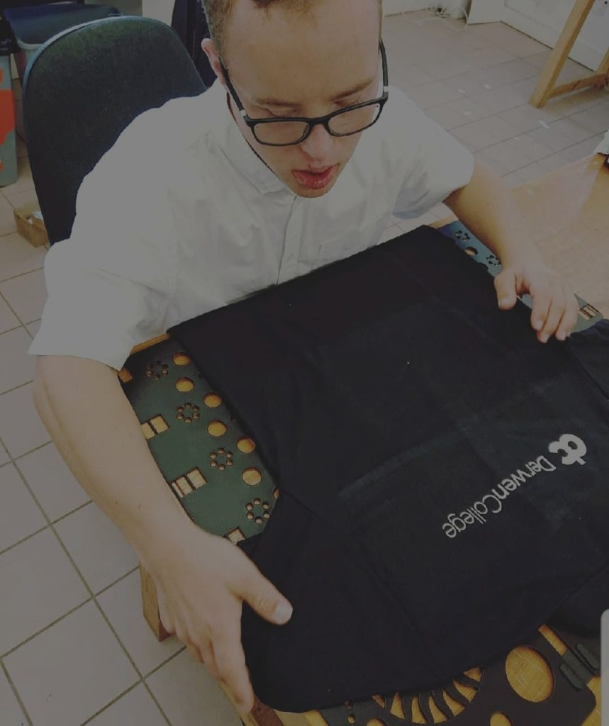 Sam working in the Karten Print Shop.