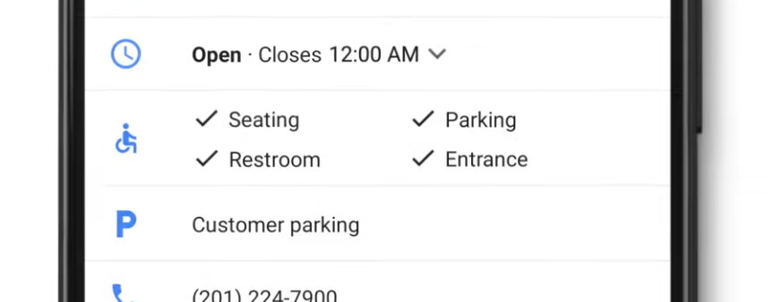 Google Accessible Places settings being displayed on a mobile device