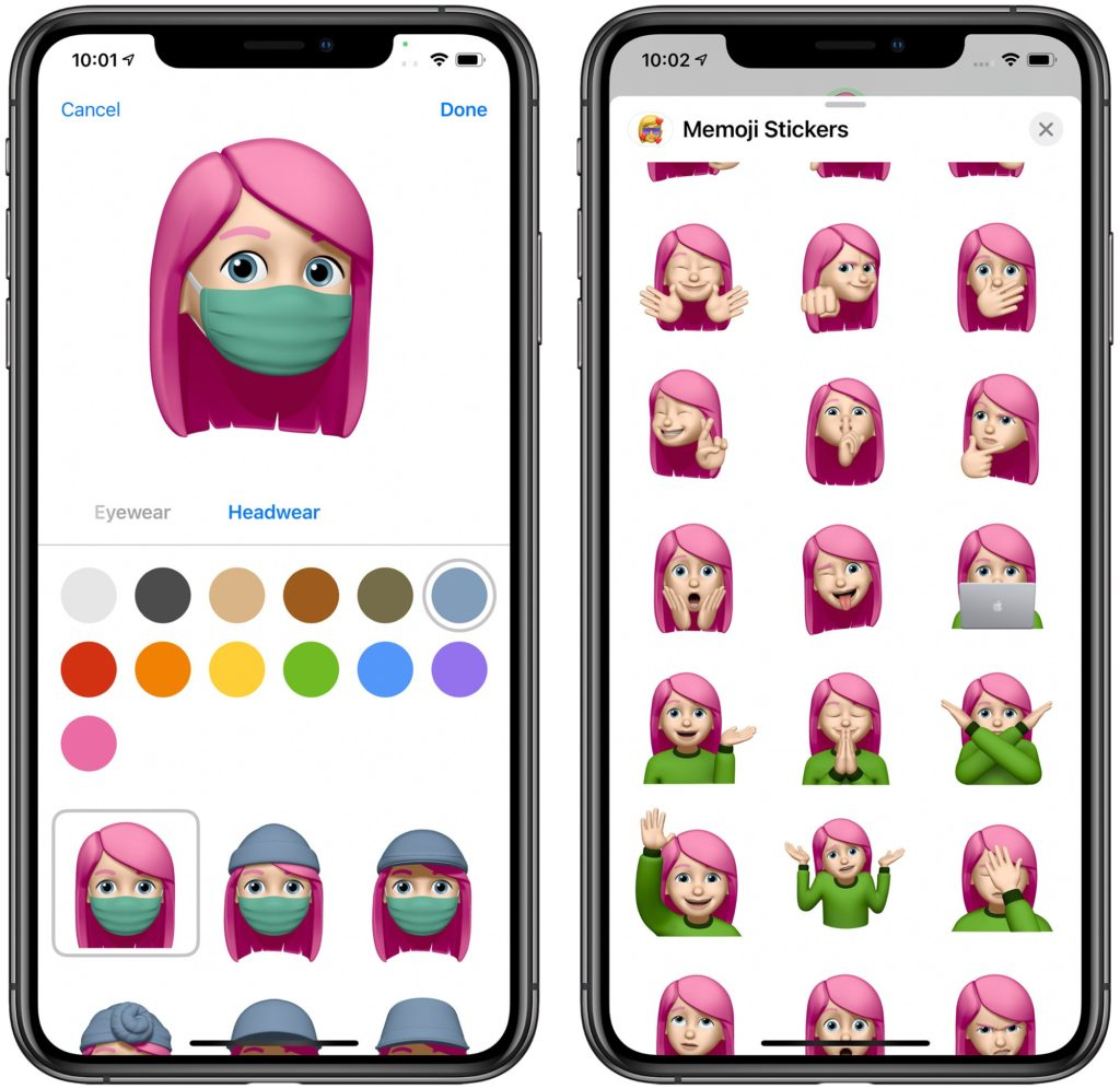iOS 14 new memoji wearing a face mask