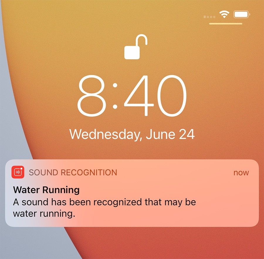 iOS Sound recognition displaying a running water notification