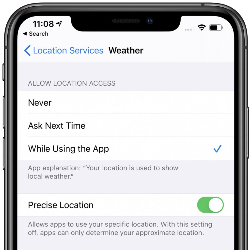 iOS 14 displaying the use of non-specific location data