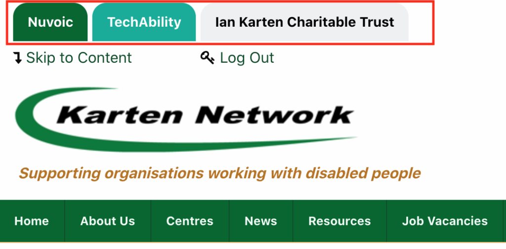 Screenshot of Karten Network website and the new quick access tab