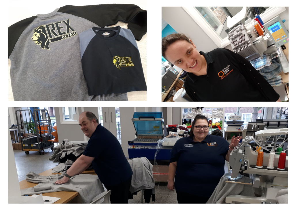 Peter, Danielle and Emma getting involved in the embroidery process