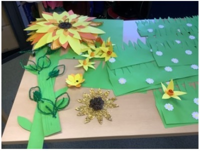 students in College making sunflowers to decorate the College