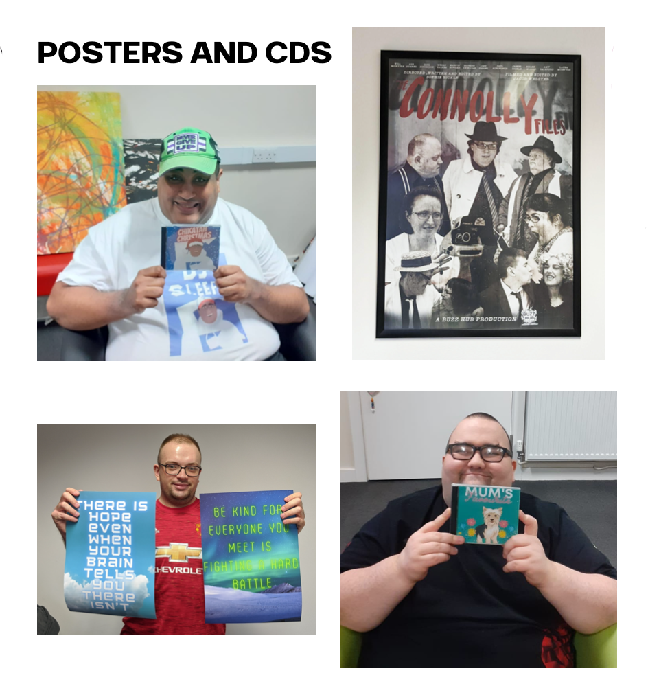 Students holding examples of their photo and CD printing work