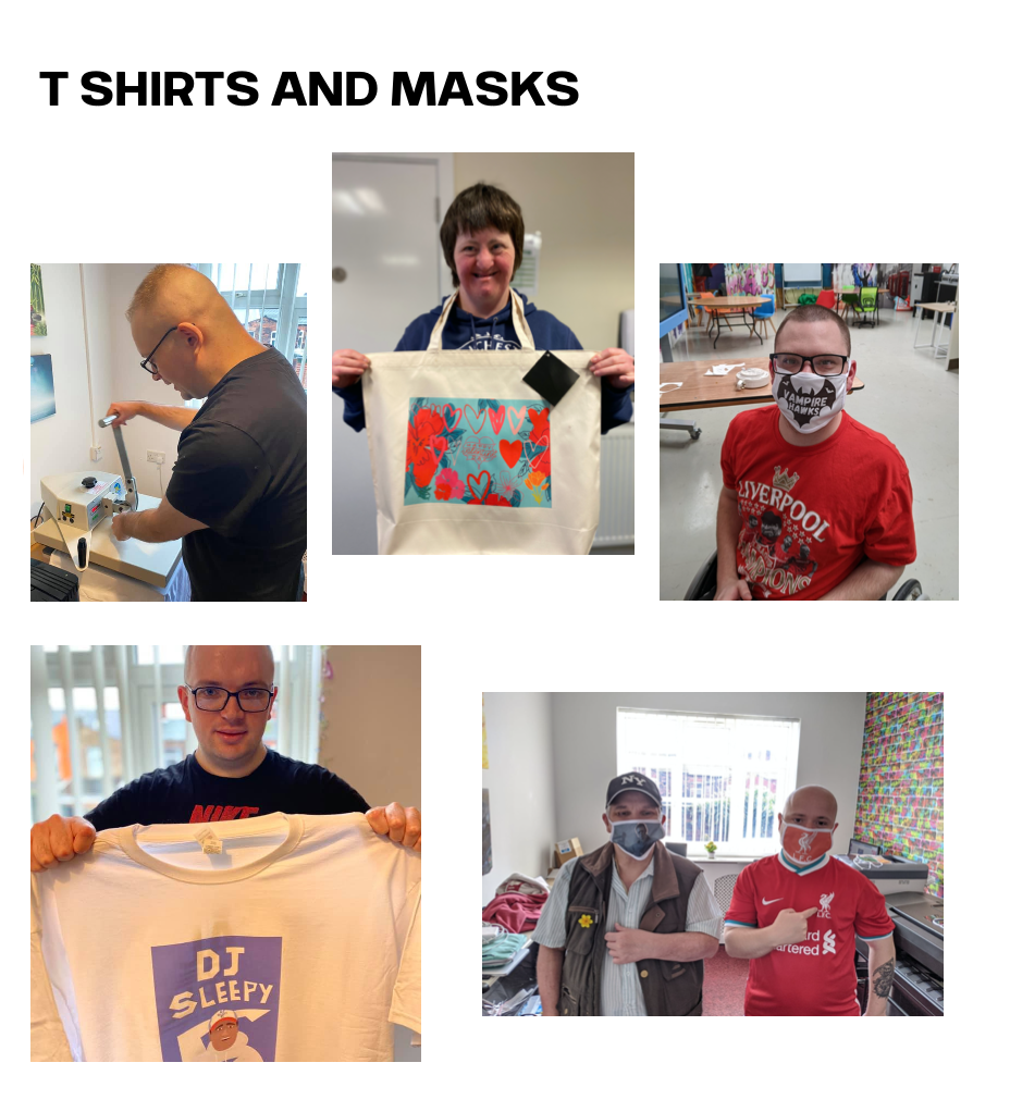 Students holding examples of their T-Shirts and Masks