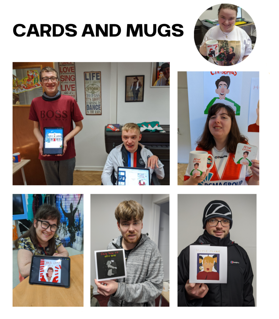 Students holding examples of their cards and mugs printing works