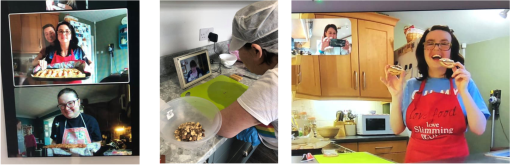A Facebook Portal cooking session