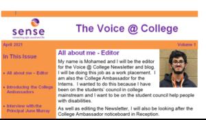 Screen shot of the sense college ambassador webpage