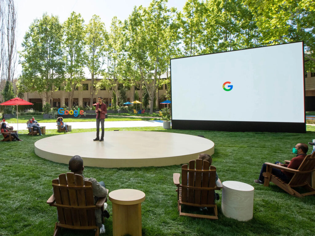 Google I/O presented outside from Google's office in California