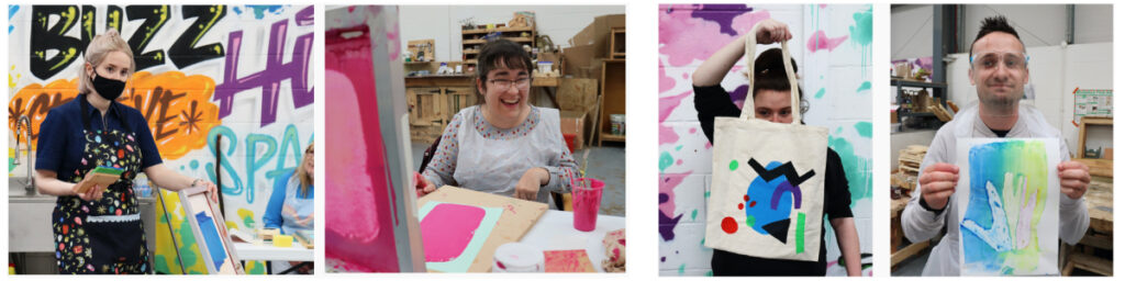 Students working with Artist Kate Hodgson to create screen printed bags
