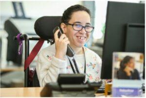 Samantha, enjoying as her job as receptionist