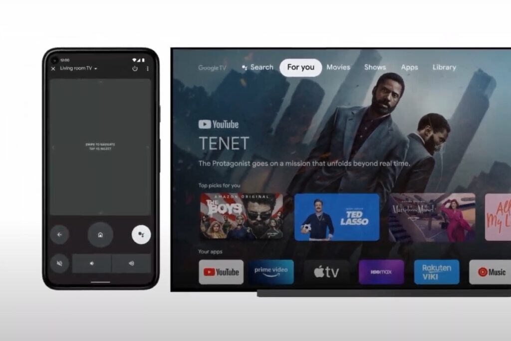 Android 12 - a phone and TV to depect the new Android TV remote app