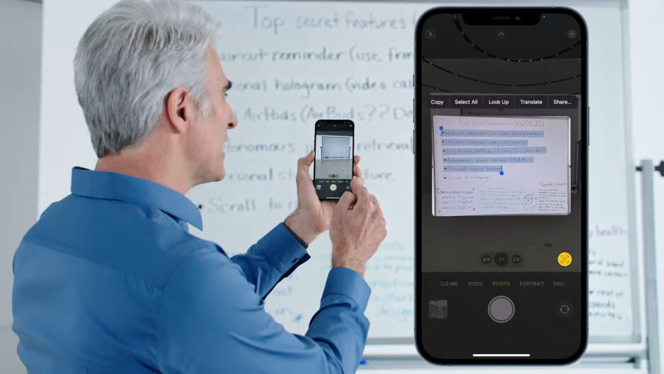 iOS 15 Live Text being used to extract the text of a white board